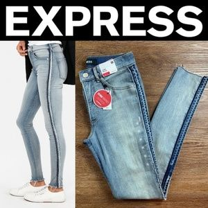 NEW EXPRESS HIGH WAISTED SIDE STRIPE DENIM PERFECT